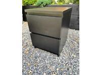 Ikea Black Malm bedside cabinet