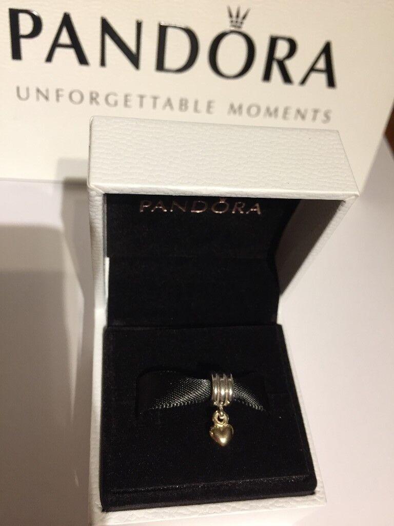 09f1428b6 New genuine Pandora Hanging Heart Pendant Charm With 14ct gold 790173