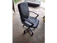 Leather office chair black with armrests, recline, height adjust - in excellent condition