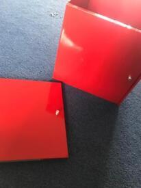 2 ikea Kallax red door units for