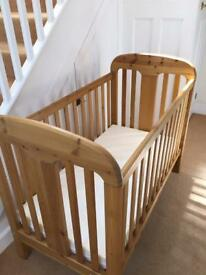 Baby Cot. Solid Wood / Pine. Mattress included.