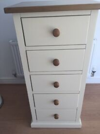 Cream and oak wardrobe and 5 drawer tallboy