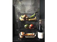 3 Tier, Matt Black Vegetable storage rack for sale.