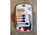 Worldwide Earthed Euro Adaptor + UK to EU Adapter