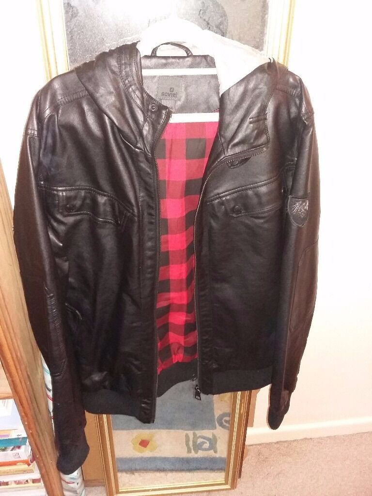 Mens jacket gumtree -  Soviet Large Black Leather Look Mens Jacket