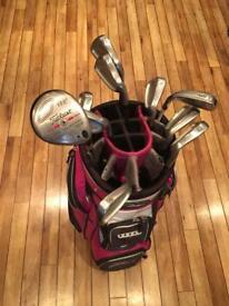 Women's golf set; large bag, titleist irons 4-9, PW, SW, wood, big Bertha 6 iron