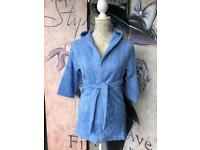 Brand New Blue Hooded Terry Towel Robe 100% Cotton