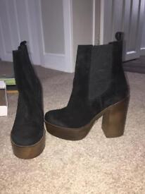 Topshop Black Platform Boots (never worn)