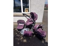 Baby Elegance travel system purple - carrycot, pushchair, carseat + base, changing bag, raincover