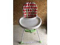 Mothercare High Chair Apple print with tray Good Condition