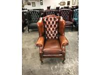Stunning brown leather chesterfield Queen Anne vintage wingback chair UK delivery