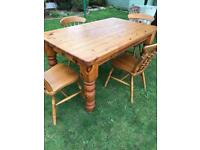 Solid pine farmhouse table with four chairs ( can deliver )