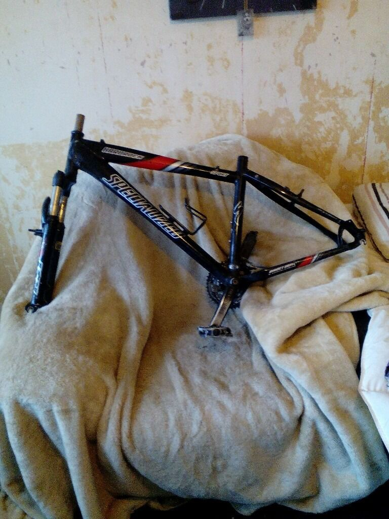"SPECIALIZED HARDROCK SPORT ( 17"" ) FRAME & FORKS SET, DUEL DISC SPEC, GOOD CONDITION, £15"