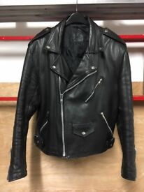Mens size 44 Double Breasted Leather Motorcycle Jacket