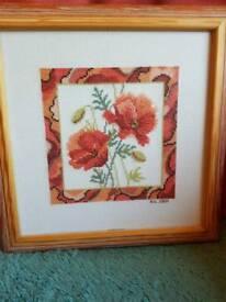 Framed cross stitch poppy picture
