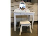 Child's Wooden Dressing Table and Stool