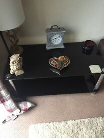 Glass top coffee table and tv stand
