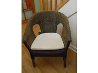 Wicker Chair with fitted cushion pad, conservatory, bedroom