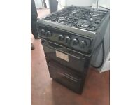 Hotpoint HAG51K Gas Double Oven Cooker - 50 cm - Black