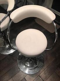 2 white & chrome bar stools