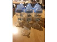 Tommee Tippee Closer to nature Blue Bottles x6 + Level 2 teat x4