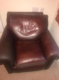 leather 2 seater sofa and two chairs