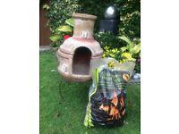 Terracotta Chiminea Burner + 2 Bags of Heat Logs