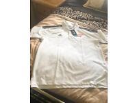 BNWT authentic Adidas white cotton polo shirt size XL amazing deal
