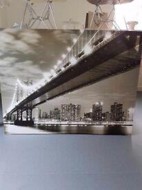 New York, Brooklyn Bridge, skyline black and white canvas. Size 115cm x 90 cm.