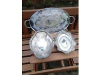 3 silver plates, antique and special with engravings and kite mark