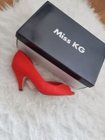 Miss KG Red Suedette ladies shoes , new, never worn, size 4 (EU 37)