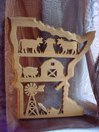 Minnesota Wall Plaque Hand Crafted Red Oak Wood Vtg