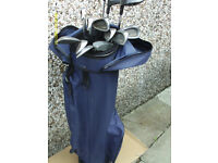 MENS LEFT HAND GOLF CLUBS WITH BAG AND FREE TROLLEY