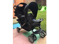 Graco double pram & car seat- only used 3 times-immaculate condition