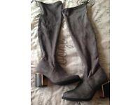 Grey suede overknee boots