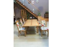 Dining Table & 6 Chairs (Light Oak) Ex Sterling