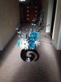 Artificial Silk Flower Arrangement In Teal & Cream In Black Shaped Vase