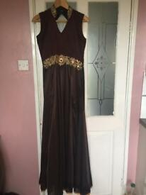 Women's Mocha/Chocolate brown sz 12/40 gown style ankle length studded collared suit