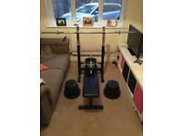 Dumbbells, barbell, plate weights and bench