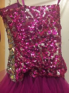 women's pink and silver sequin sweetheart dress