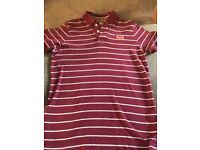 Superdry Mens Maroon and White Striped Polo Shirt