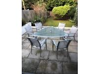Glass and metal garden table and chair set