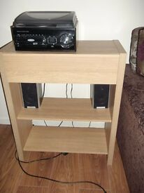 CONSOLE TABLE WITH DRAWER AND 2 SHELVES. OAK COLOUR. VGC. £30