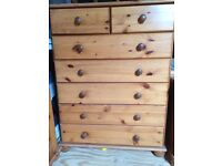 3 piece pine furniture set with headboard