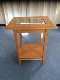 Side Table Light Oak Inset toughened glass top and wooden under shelf as new