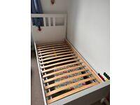 Hemnes - Bed frame, white stain/LuröyStandard Single. Solid Pine.