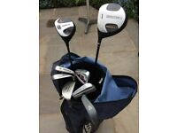 Half set of long shafted, left handed Golf clubs with bag, balls and pins