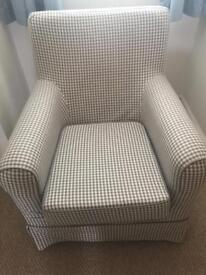 Blue/cream checked armchair