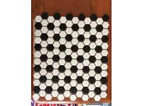 Matt Chequer Hexagon Tiles, Bathroom, Kitchen, Floor, Black & White, Porcelain,