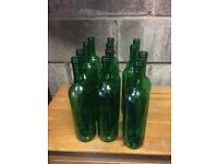 Home brew 75cl green and clear wine bottles